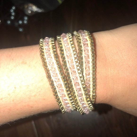 Accessories - Gold and Pink wrap bracelet
